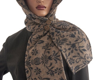 SALE Beige Black Wool Blend Hood Wrap Scarf Head Hoodie Wrap Scarf Handmade