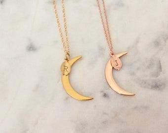 Celestial Jewelry Crescent Moon Necklace Initial Necklace This is us necklace Gold Moon Necklace Personalized Jewelry Mothers Day Gift Mom