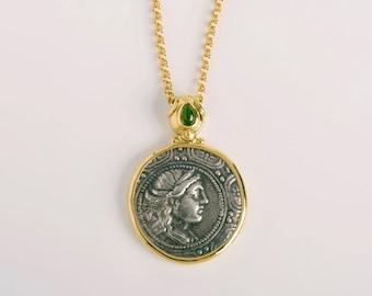 Ancient Greek Coin Pendant Macedonia Authentic Artemis Coin Pendant | Green Tourmaline Pendant Women,18k Gold Bezel Medallion