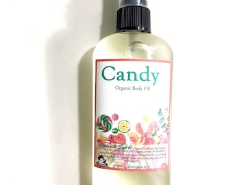 Candy Organic Body Oil - Inspired by Candy - Hydrating Wet Skin Body Oil - Natural Hair Oil - Organic Argan Oil 4.7oz