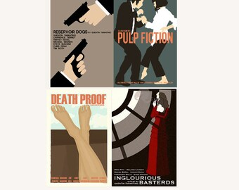 Movie posters Tarantino Collection set of four prints in various sizes save 10%