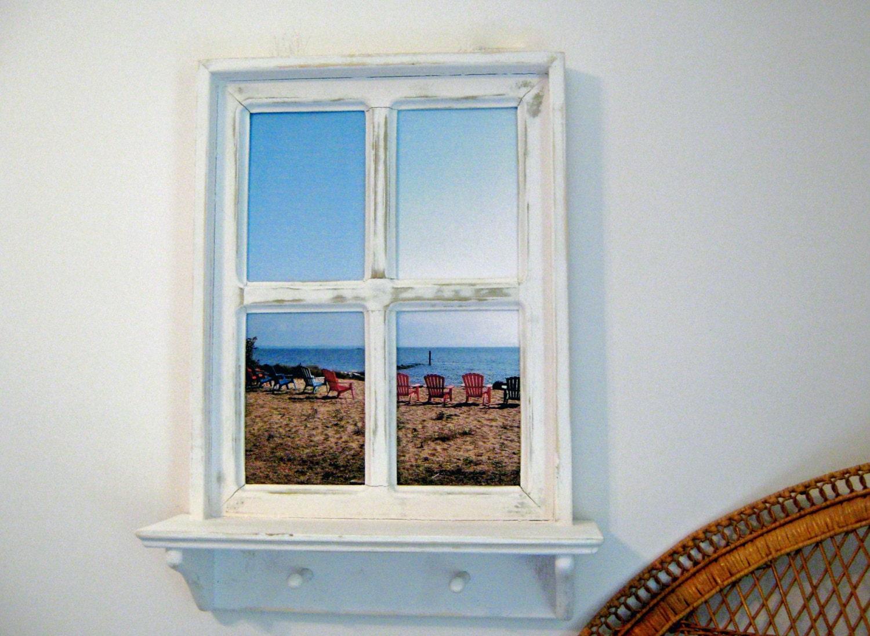 window frame beach wall art fake window ideas wood window. Black Bedroom Furniture Sets. Home Design Ideas