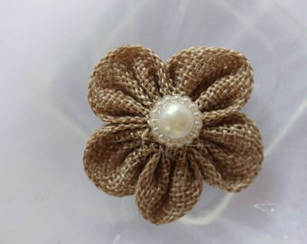 beige flower fabric embellishment scrapbooking