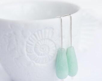 Modern Drop Earrings Pastel Mint Jade Argentium Sterling silver minimalist Geometric Jewelry minimal chic