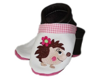 Crawling Shoes/crawling slippers hedgehog, leather soft shoes, hedgehog, baby shoes, soft sole, made in Germany