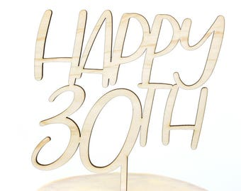 30th Birthday Cake Topper. 30th Anniversary Cake Topper, Happy 30th, Personalized Gold Silver, Custom Cake Topper, Birthday Cake Topper
