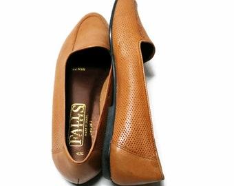 80's caramel leather boho flats shoes 10