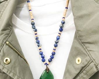 Beaded Necklace with Pendant - Faceted Emerald Green Jade Pendant with Sea Blue Sediment Jasper - Positive Vibes, Gifts for her, Jewellery