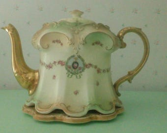 Victorian Crown Devon S.F. & Co Teapot and stand