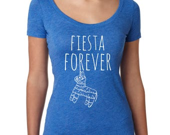 Fiesta Forever, Women's Graphic Scoop Tee, Screen Printed, Funny T Shirt, Blue
