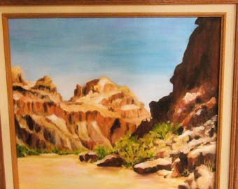Vintage Desert Canyon Scene/Oil On Canvas/ Sand/Canyon/ Signed J.Baser