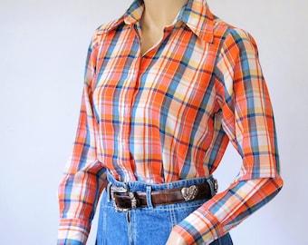 Plaid Blouse Permanent Press Long Sleeve Preppy Cotton Blend Vintage 1970's 1960's Size 34