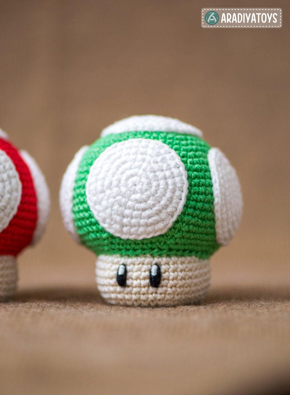 Häkelanleitung für den 1Up Pilz aus Super Mario World