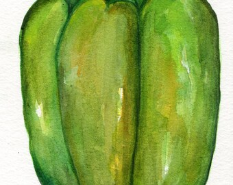 Green Bell Pepper watercolors paintings original, Kitchen wall art, vegetable decor 5 x 7 Peppers original watercolor painting