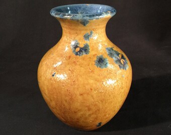 Wheel Thrown Vase with Gold and Blue Crystalline Glaze