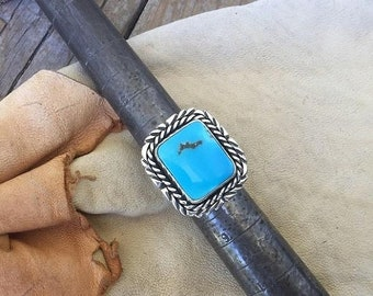 ON SALE Turquoise ring handmade in sterling silver 925 with with beautiful blue Turquoise Mountain turquoise