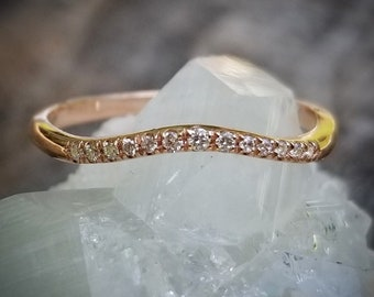 Curved Diamond Wedding Band Rose Gold Curved Wedding Bands Women Curved Wedding Band Rose Gold Wedding Band Women Rose Gold Diamond Ring 14K