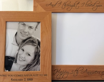 5th Anniversary Gift for Him for Her, Anniversary Gifts for Boyfriend Girlfriend for Men for Women, Personalized Solid Wood Engraved Frame