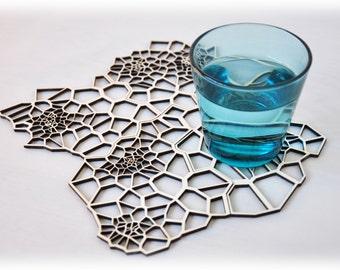 Geometric wooden drink coasters - laser cut pattern - set 4