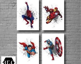 Set of 4 Superhero Wall Prints - Digital Files