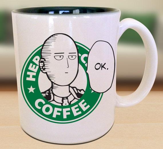 The Hero Of Z City Mug Bald Ok Hero Saitama Anime Manga Inspired Geek Nerd Gift Idea Parody Mug by Etsy