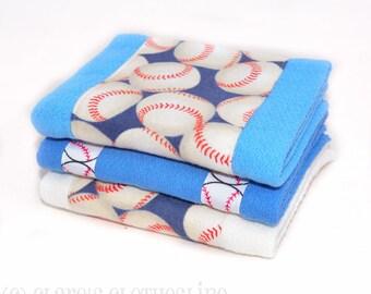 Baby Burp Cloths -Blue and White Baseball Burp Cloth Set of 3 - READY TO SHIP