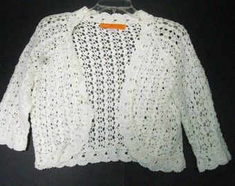 Vintage Crochet Shrug Bolero Jacket Cover Up 3/4 Sleeve Medium Off White 100% Cotton by Cynthia Steffe