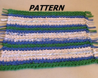PATTERN Fringed Rag Rug Crocheted
