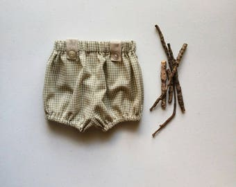 Green Plaid Cotton Infant and Toddler Bloomers, Handmade by Papoose Clothing