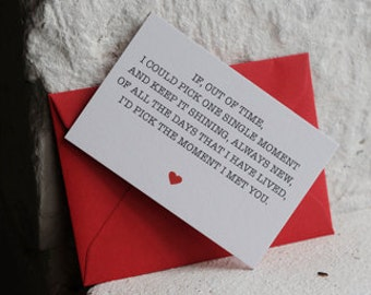 Mini 'The Moment I Met You' Card, Romantic Card, Valentines Card, Love Card, 85x55 mini card