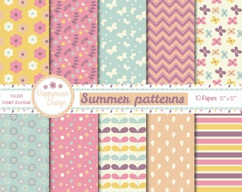 Summer patterns, pink, yellow, peach and blue, digital paper pack