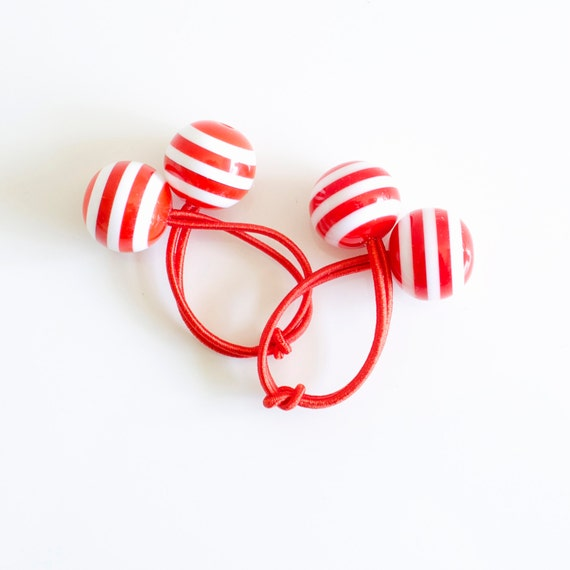 Hair ties. Elastic hair ties. Funky. Red and white stripes. Retro style hair bobbles.
