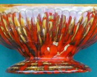 MidCentury Planter Orange Pottery Drip Flames
