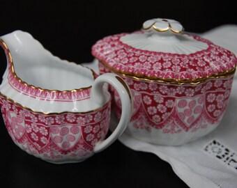 Copeland Spode China Cream and Sugar Set Covered Sugar Bowl Fine China Primrose Pattern with Gold Trim Replacement China