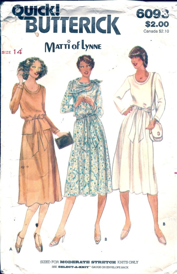 1970s Sewing Patterns 70s Dress Top Skirt Stretch Knits