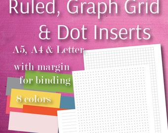 Basic pages A4, A5, Letter, Ruled, Dot, Lines, Grid, printable, Planner Inserts