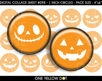 INSTANT DOWNLOAD - 1 Inch Circles Digital Collage Sheet - Halloween Pumpkin Face - Bottle Caps Scrapbooking Pendant Magnets Tags - 098