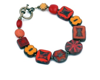 Red, Orange Yellow Czech Glass Bead Bracelet