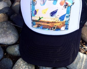NEW Trucker Hat, DROUGHT CA, limited ed. w/pin back, California, Beach, Surf, Rain Drops, One Size Fits All, foam trucker hat, Best Seller