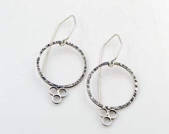 Textured Circle Sterling Silver Earrings