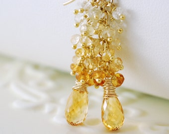Golden Citrine Earrings Genuine Gemstone Cluster November Birthstone Gold Wedding Jewelry - Sunshine - Complimentary Shipping
