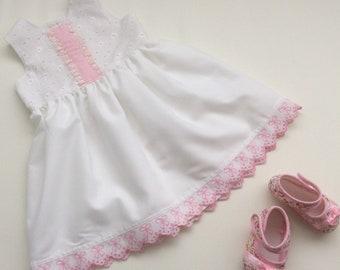 Baby Girls Broderie Anglaise Dress - Size 0, Toddler Girls Dress, White Dress, Cotton Dress, Summer Dress, Australian Seller, Ready to Ship