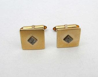 Krementz Cufflinks - Curved Square - raised rhinestone center diamond. Amber swivel backs - 1960s