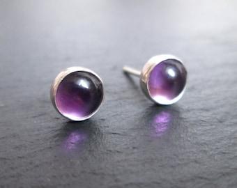 Purple Stud Earrings, Amethyst Jewellery, Gemstone Earrings, Purple Studs, February Birthstone, Silver Studs, Amethyst Jewelry, Birthday