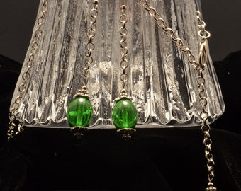 Festive Green, White and Silver Tone Holiday Neclace and Earring Set