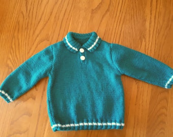 Hand knit baby boy 12 month green polo sweater