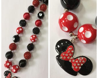 Mouse Ears Chunky Bead Necklace, Pendant Chunky Necklace, Bubblegum Necklace, Red & Black Color Necklace