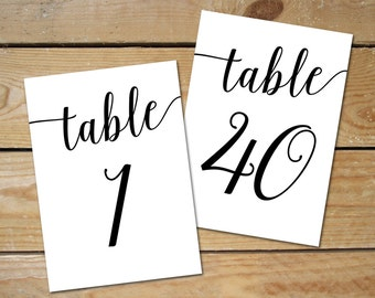 Printable Table Numbers 1-40 // Black Table Numbers for Wedding // 5x7, 4x6 Table Numbers Printable, Instant Download