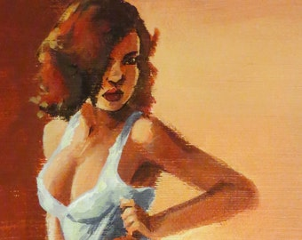 ON SALE!! -Pin Up - Original Acrylic Painting - 50% OFF-