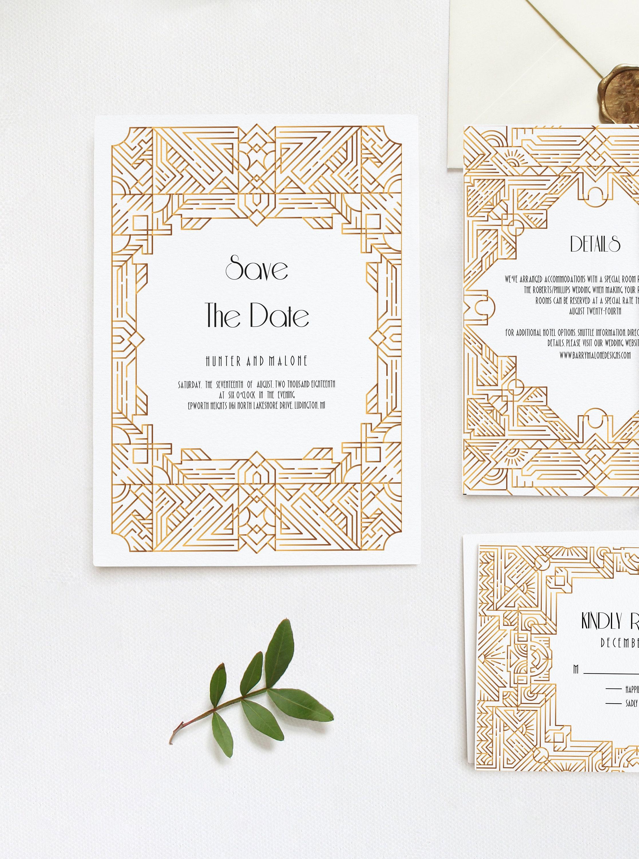 art deco save the date template wedding invitation gatsby